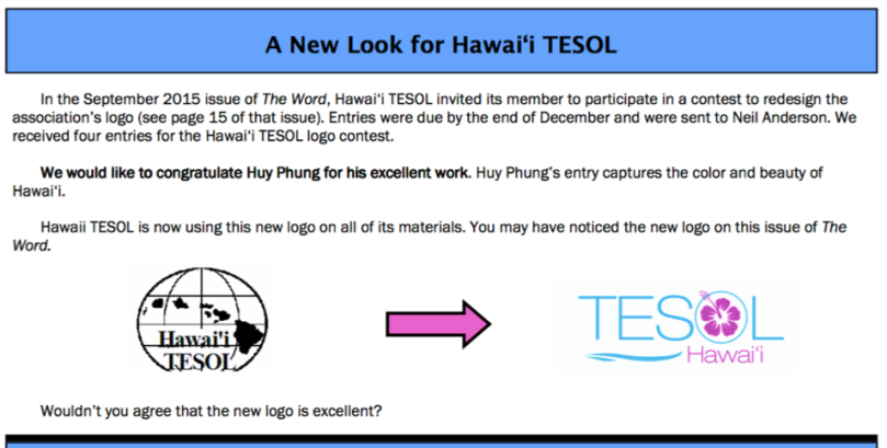 from Hawai'i TESOL Newsletter